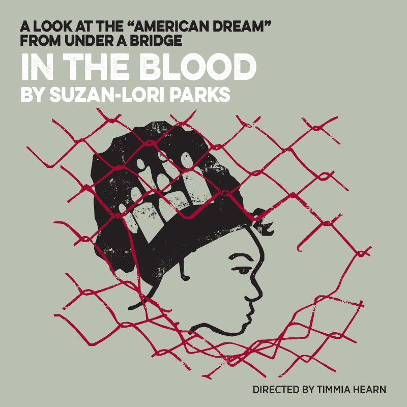 show illustration for In the Blood. Features a woman in the profile behind a chain link fence
